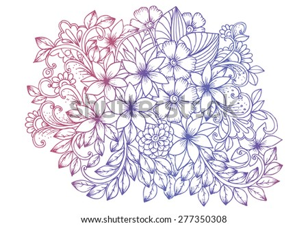 Flower doodle drawing. Floral design elements - stock vector