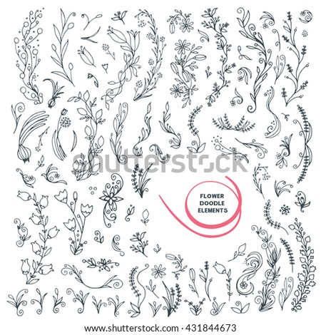 Flower doodle elements set. Big vector isolated collection. Hand drawn floral parts. Black and white line decoration elements group. Decorative plants and flowers.
