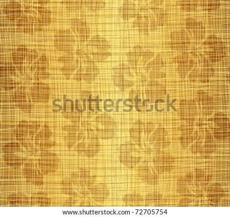 Flower drawing against a gold fabric - stock vector