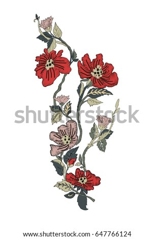 Embroidery flower stock images royalty free images Fashion embroidery designs