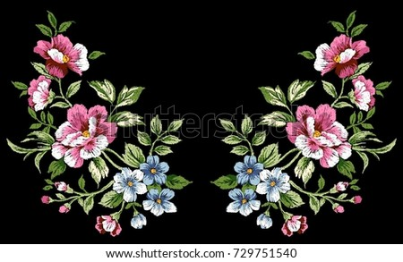 flower embroidery, floral embroidery patch, flower vector art