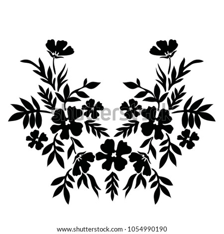 Flower Embroidery Pattern Stock Vector 2018 1054990190 Shutterstock
