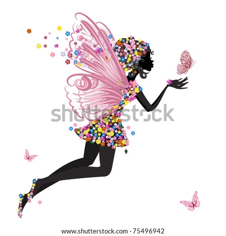 Flower Fairy with butterfly - stock vector