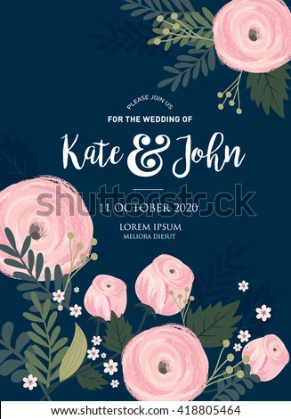 flower/floral wedding invitation card template vector/illustration - stock vector