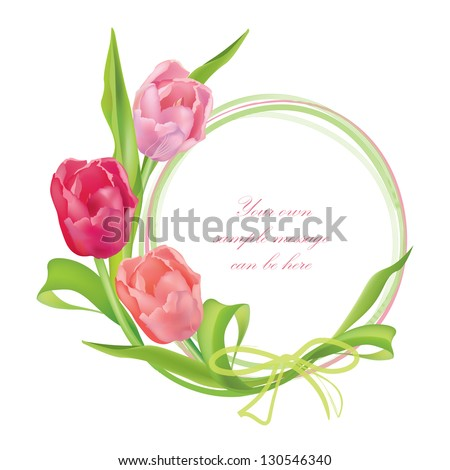 Flower frame. Floral border. Bouquet tulips isolated. - stock vector