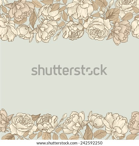 Flower frame. Floral seamless border. Vintage flourish textured background in victorian style. - stock vector
