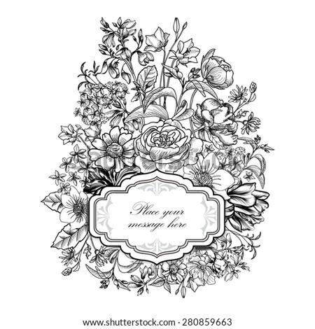 Flower Frame Vintage Floral Border Flourish Background Victorian Style Invitation