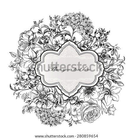 Flower frame. Vintage floral border. Old style card. Flourish victorian invitation. - stock vector