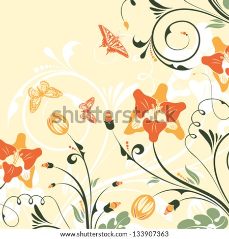 Flower Frame with Bud and Butterfly, vector background