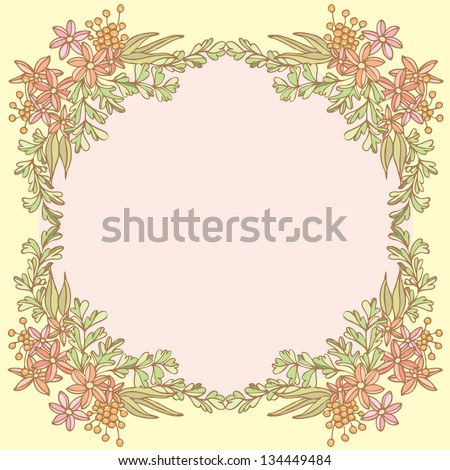 Flower frame with space for your text, Vector illustration