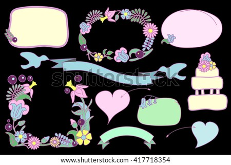 Flower frames and text bubbles vector clip art, flower frames isolated on black, romantic hearts and ribbon with doves, hand-drawn vector clipart for love letter and wedding invitation, love clip art - stock vector