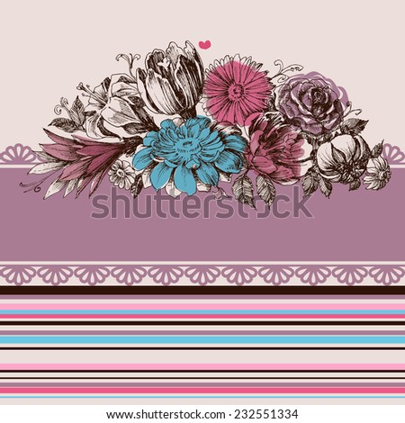 Flower garden greeting card - stock vector