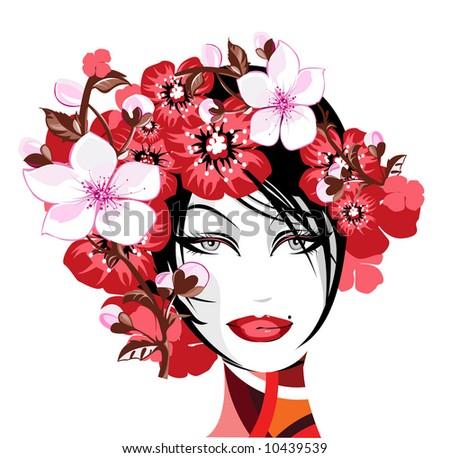 Flower Goddess - stock vector