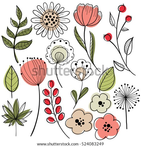 Flower graphic design vector set floral stock photo photo vector flower graphic design vector set of floral elements with hand drawn flowers altavistaventures Image collections