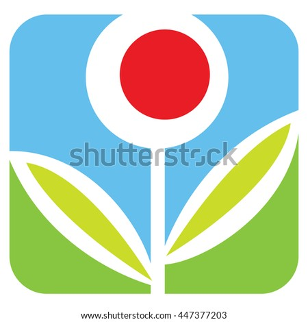 Flower. Graphical symbol for use in logotype, emblem, insignia etc. Vector illustration