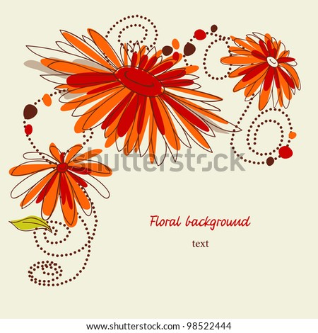 Flower greeting card, corner decoration - stock vector