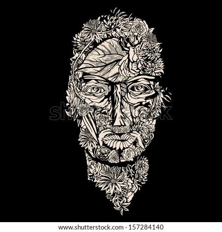 Flower Human Head. - stock vector