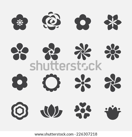 flower icon - stock vector