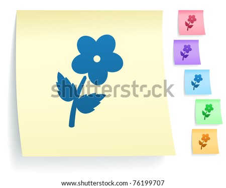 Flower Icon on Post It Note Paper Collection Original Illustration - stock vector