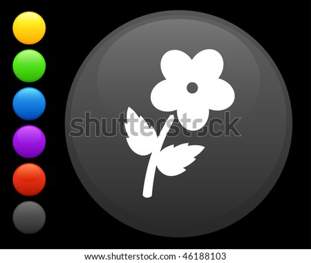flower icon on round internet button original vector illustration 6 color versions included - stock vector