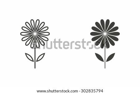 Flower icon on white background. Vector illustration.