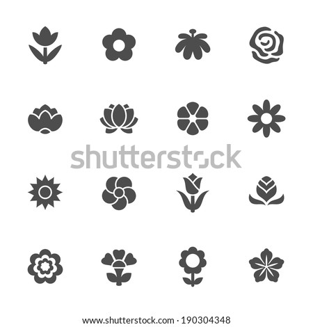 Flower icon set - stock vector