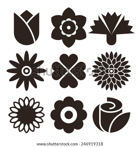 Flower icon set isolated on white background - stock vector