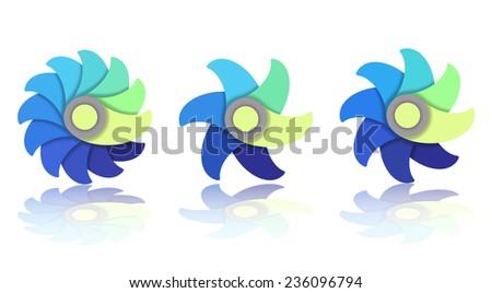 Flower Icon Set, vector eps10 illustration - stock vector