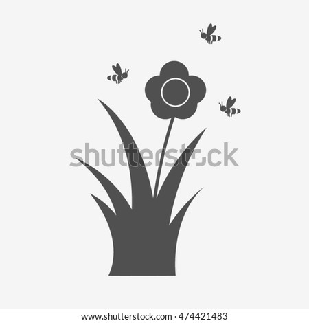 Flower icon vector with bee