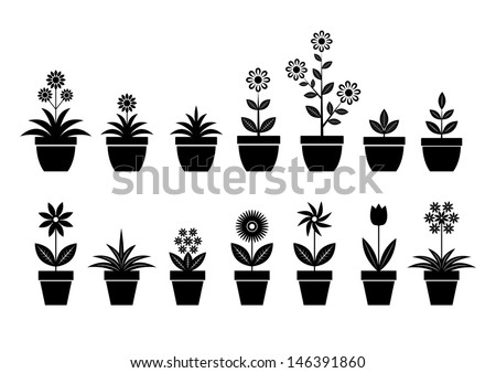 Flower icons on white background