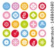 flower icons set, color - stock vector