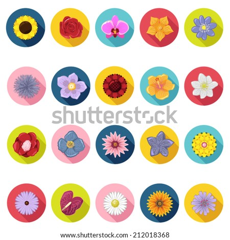 Flower icons set in flat design with long shadow. Illustration EPS10 - stock vector