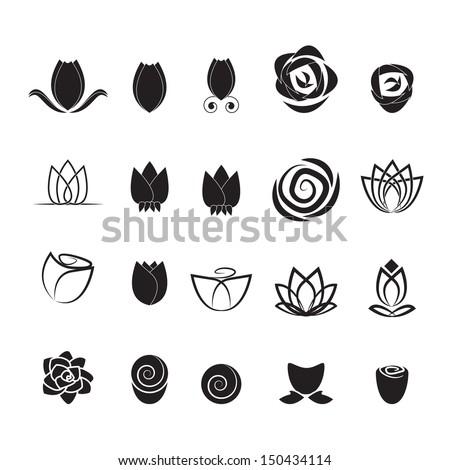 Flower Icons Set - Isolated On White Background - Vector illustration, Graphic Design Editable For Your Design. Flower Logo - stock vector