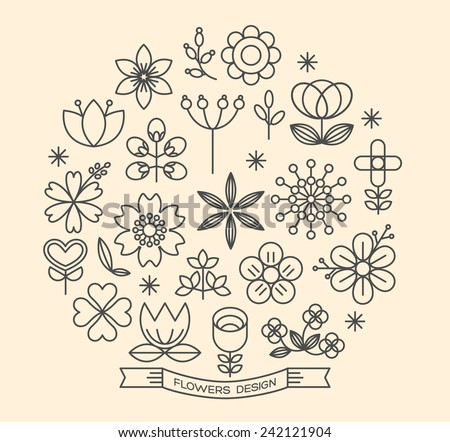Flower icons with outline style vector design elements - stock vector