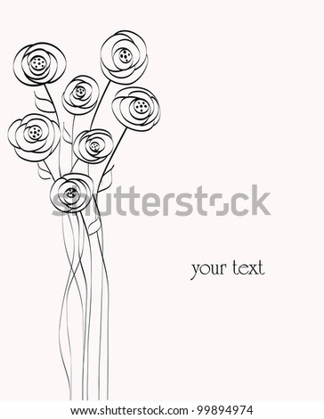flower illustration, abstract, free copy space - stock vector