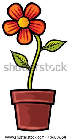 Flower in pot - stock vector