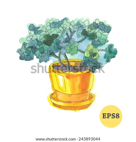 Flower in pot. Vector illustration for your design - stock vector