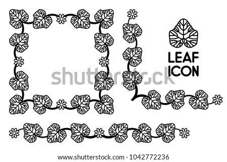 Flower Ivy Leaf Curl Border Isolated Vector Black Leaves Flora Vintage Frame Floral Foliage