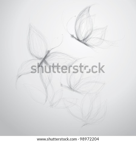 Flower like Butterfly / surreal sketch - stock vector