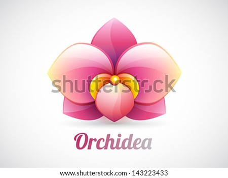 flower logo - pink orchid flower shape - vector icon isolated on white background