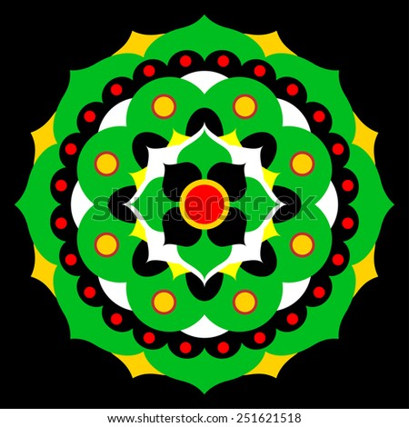 flower mandala in green, yellow, red, black and white - stock vector