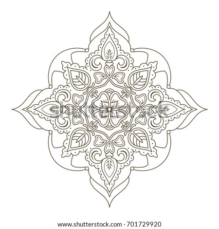 Flower Mandala Oriental Emblem For Shop Coloring Page In Zentangle Style