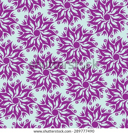 Flower Mandala Seamless Pattern - Blue and Purple Colors - stock vector