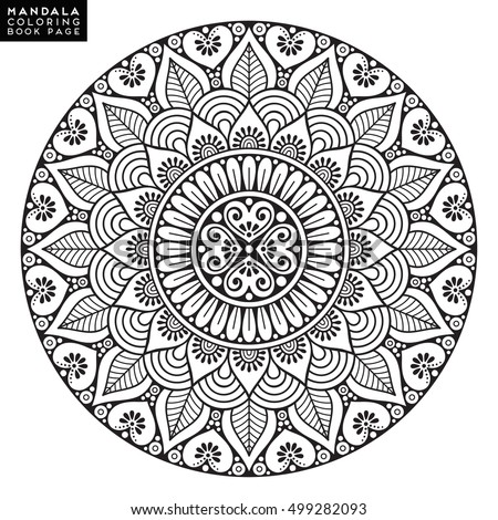Weave mandala on flower coloring pages for free