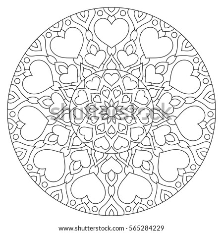 Flower Mandala Hearts Coloring Page Valentines Stock Vector