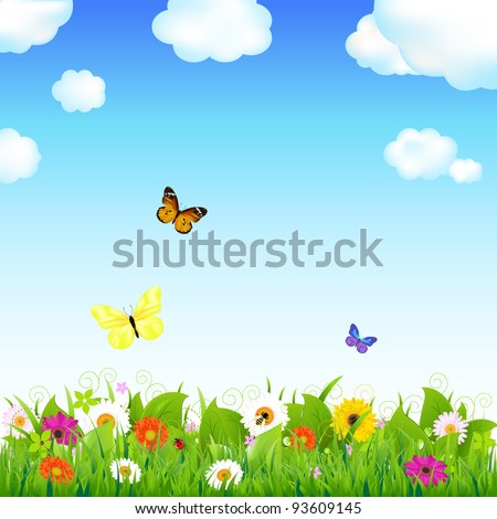 Flower Meadow With Butterflies, Vector Illustration - stock vector