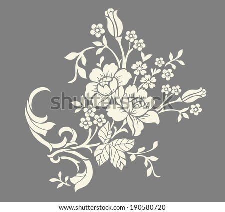 Flower motif,Flower design elements vector - stock vector