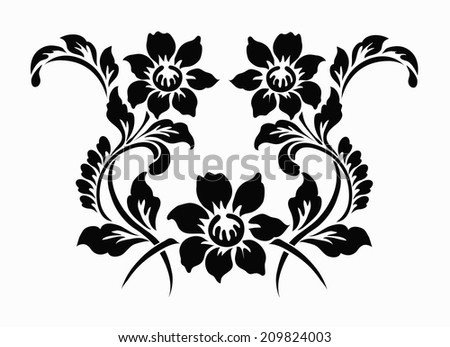 Line Drawing Flower Vector : Flower motif design stock vector hd royalty free 209824003