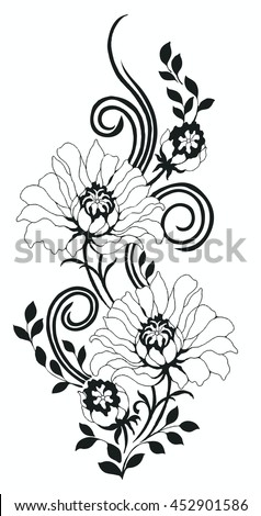 Flower Motifrose Sketch Stock Vector 452901586 - Shutterstock