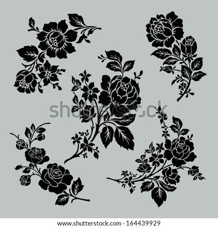 flower motif set vintage rose collection stock vector 164439929 shutterstock. Black Bedroom Furniture Sets. Home Design Ideas
